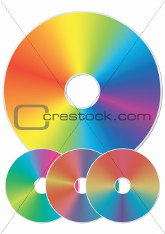 Compact disk with rainbow reflections.