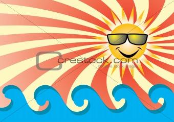 Sun on sea.