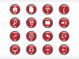 rounded red web glassy icons set