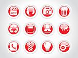 rounded symbol for internet icons, red
