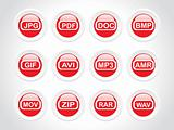 rounded vector logos colorful version, red