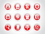 rounded web 2.0, icon set, red