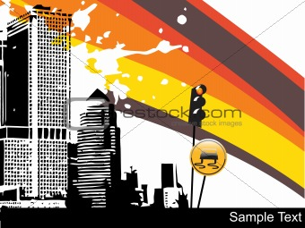 abstract  rainbow background with building illustration