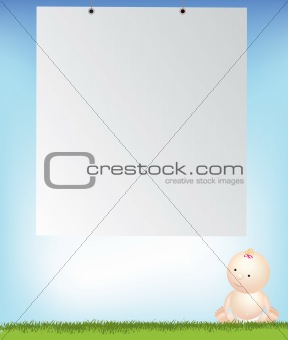 baby girl by empty background space
