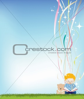 boy reading background