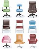 Vector furniture icon set. Chairs