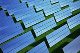 Solar panel on grass field