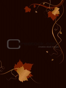 Abstract dark background with red golden foliage and swirls