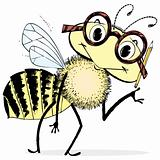 Smart Bee Cartoon