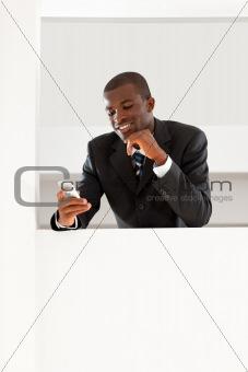 businessman reading emails