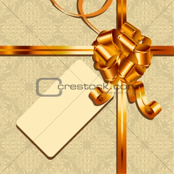 Background with gold bow and card