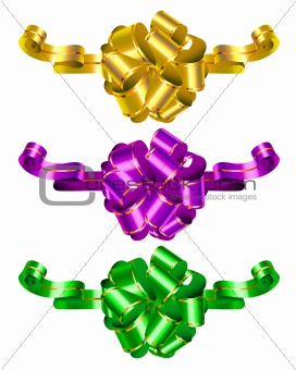 Three color decorative bows