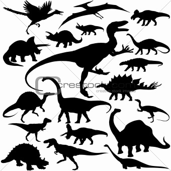 Image description 19 pieces of detailed vectoral dinosaur silhouettes