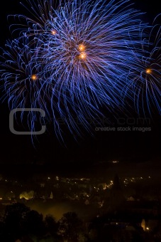 Fireworks over a town