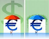 euro under umbrella