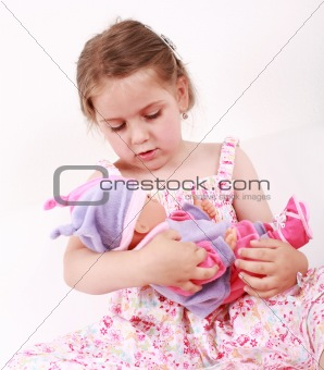 Playing with doll