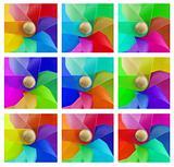 set of coloured windmills