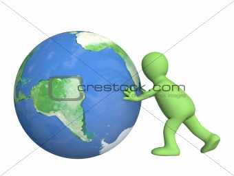3d puppet, pushing Earth