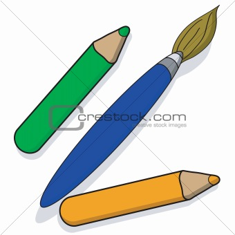 Paintbrush and pencils