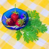 Three Strawberries lying on plate with checkered fabric background
