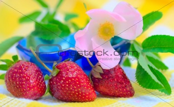Three Strawberries lying at plate with checkered fabric background