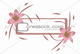 Frame with pink lily