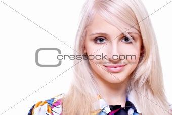 beautiful women in a colored shirt