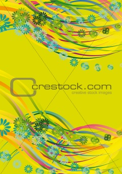 flower and wavy lines