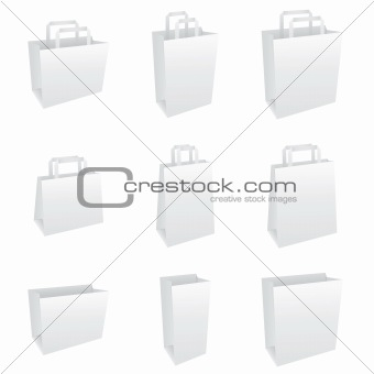 Blank white paper bag set