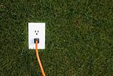 Electrical outlet in grass