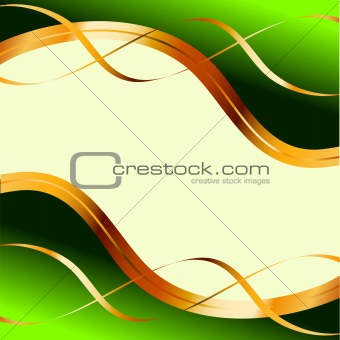 Green background with gold ribbons