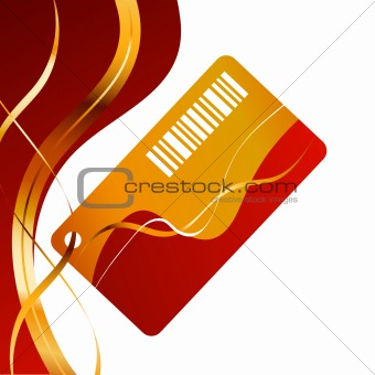 Background with gold ribbons and card
