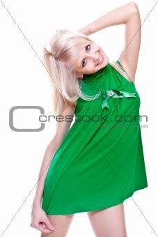 beautiful women in a green dress