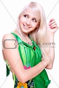 beautiful women in a green dress