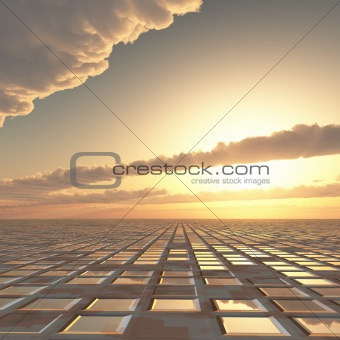 Abstract Technology Sun Sky Background