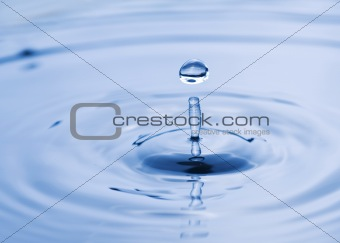 Beautiful water drop falling into water