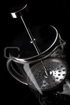French-press in black background_4