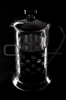 French-press in black background_5