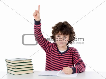 Boy studying a over white background