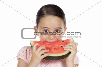 adorable girl eating watermelon