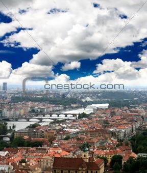 Aerial view of Prague City