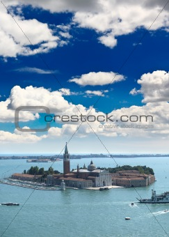 aerial view of island in Venice city