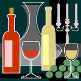 Wine bottles and glasses background