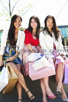 Group of girlfriends shopping
