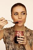 woman eats jam