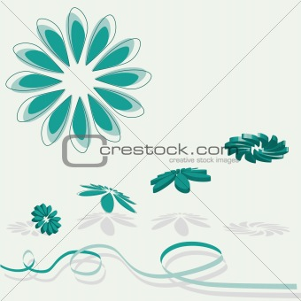 3D flying flowers in green