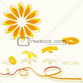 3D flying flowers in orange