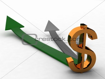 three dimensional dollar sign with arrows