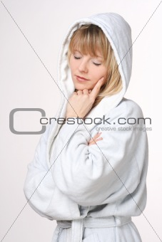 Blonde Women In Bathrobe Thinking