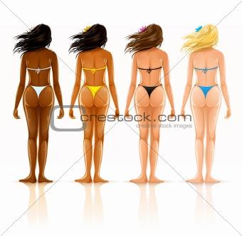 group of different beautiful girls in bikini